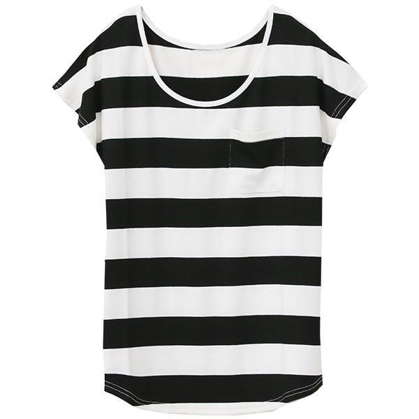 Tシャツ レディース Uネック シンプル ベーシック 美ライン 半袖 大きいサイズ 無地 白 黒 ボーダー ロゴ ホワイト とろみ カットソー 送料無料|f-odekake|36