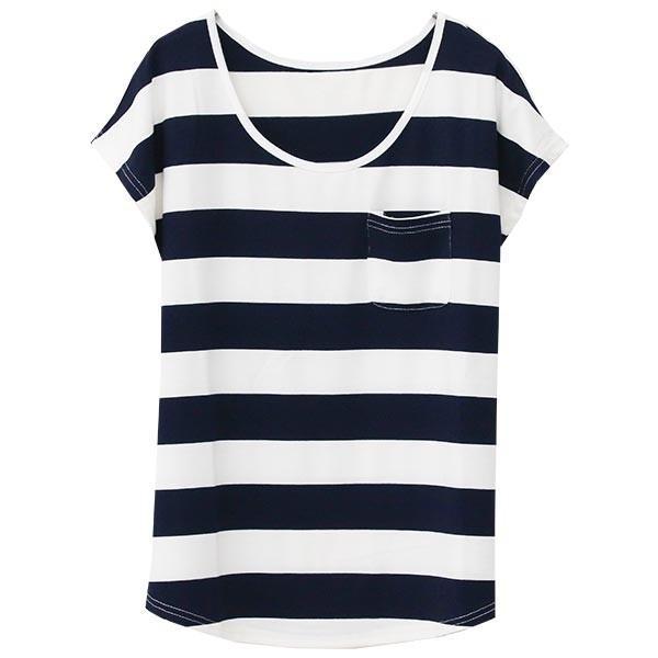 Tシャツ レディース Uネック シンプル ベーシック 美ライン 半袖 大きいサイズ 無地 白 黒 ボーダー ロゴ ホワイト とろみ カットソー 送料無料|f-odekake|37