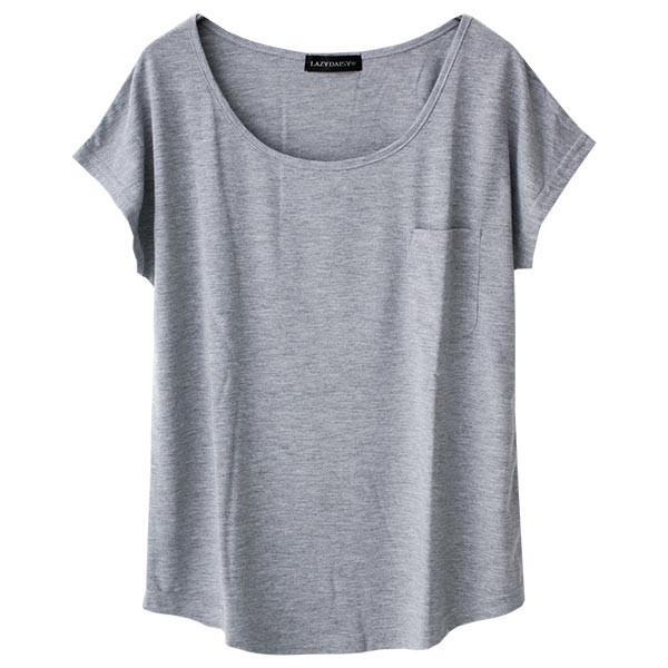 Tシャツ レディース Uネック シンプル ベーシック 美ライン 半袖 大きいサイズ 無地 白 黒 ボーダー ロゴ ホワイト とろみ カットソー 送料無料|f-odekake|25