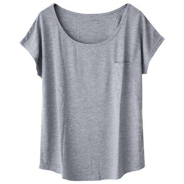 Tシャツ レディース Uネック シンプル ベーシック 美ライン 半袖 大きいサイズ 無地 白 黒 ボーダー ロゴ ホワイト とろみ カットソー 送料無料|f-odekake|29