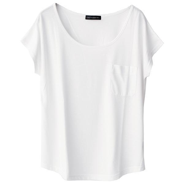 Tシャツ レディース Uネック シンプル ベーシック 美ライン 半袖 大きいサイズ 無地 白 黒 ボーダー ロゴ ホワイト とろみ カットソー 送料無料|f-odekake|22