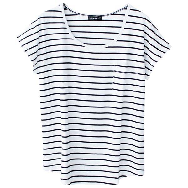 Tシャツ レディース Uネック シンプル ベーシック 美ライン 半袖 大きいサイズ 無地 白 黒 ボーダー ロゴ ホワイト とろみ カットソー 送料無料|f-odekake|38