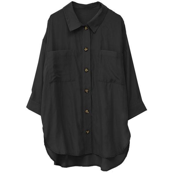 オーバーサイズシャツ レディース ポケット付 ビッグシャツ ゆったり 春 ブラウス 七分袖 トップス 送料無料 f-odekake 20