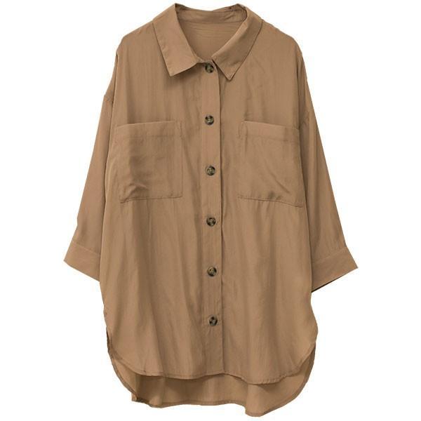 オーバーサイズシャツ レディース ポケット付 ビッグシャツ ゆったり 春 ブラウス 七分袖 トップス 送料無料 f-odekake 19