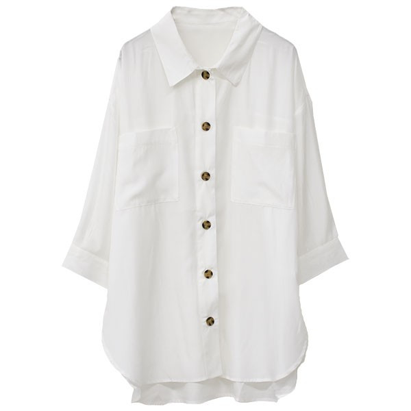 オーバーサイズシャツ レディース ポケット付 ビッグシャツ ゆったり 春 ブラウス 七分袖 トップス 送料無料 f-odekake 17