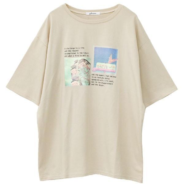 Tシャツ レディース ホログラム フォト ロゴ プリント ゆったり オーバーサイズ 半袖 春 夏 カットソー トップス 送料無料|f-odekake|24