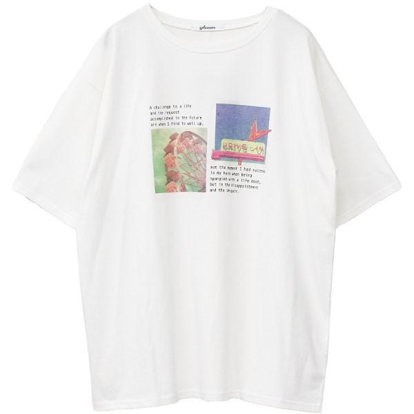 Tシャツ レディース ホログラム フォト ロゴ プリント ゆったり オーバーサイズ 半袖 春 夏 カットソー トップス 送料無料|f-odekake|21