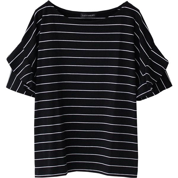Tシャツ レディース フリル袖 ボーダー ロゴ 夏 白 黒 ボリューム袖 トップス カットソー 大きいサイズ 送料無料|f-odekake|41