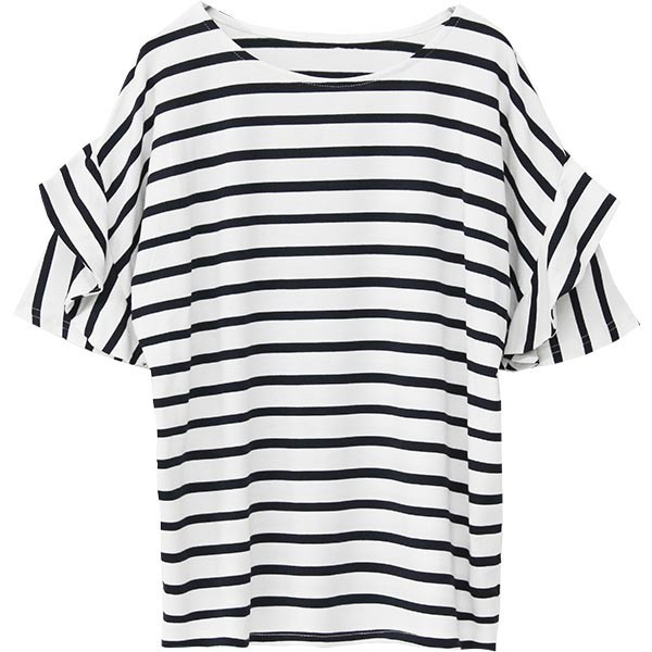 Tシャツ レディース フリル袖 ボーダー ロゴ 夏 白 黒 ボリューム袖 トップス カットソー 大きいサイズ 送料無料|f-odekake|37