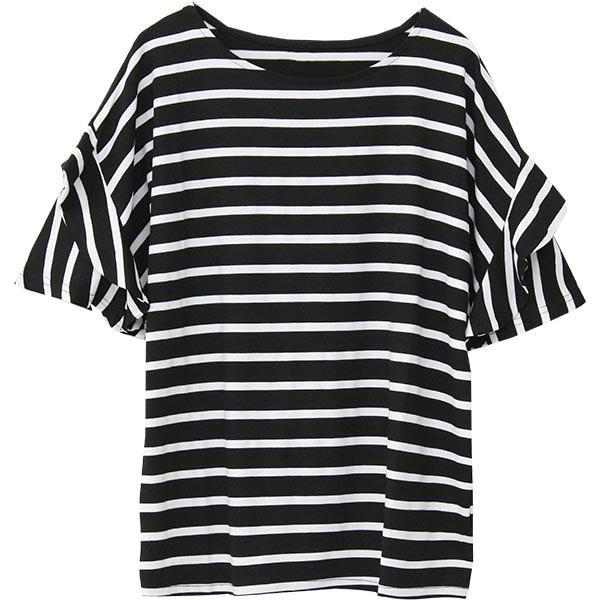 Tシャツ レディース フリル袖 ボーダー ロゴ 夏 白 黒 ボリューム袖 トップス カットソー 大きいサイズ 送料無料|f-odekake|38