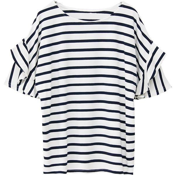 Tシャツ レディース フリル袖 ボーダー ロゴ 夏 白 黒 ボリューム袖 トップス カットソー 大きいサイズ 送料無料|f-odekake|39