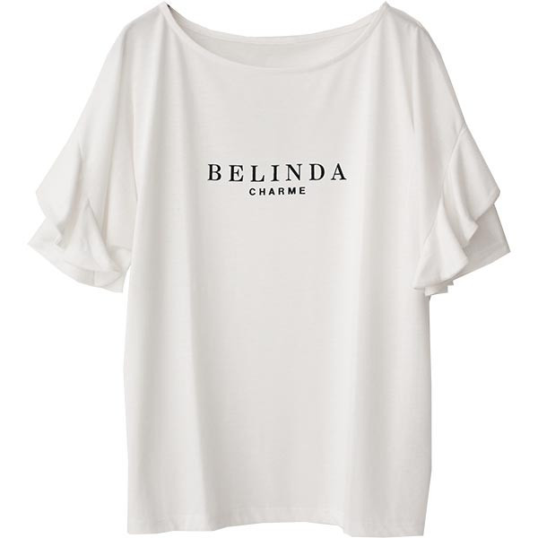 Tシャツ レディース フリル袖 ボーダー ロゴ 夏 白 黒 ボリューム袖 トップス カットソー 大きいサイズ 送料無料|f-odekake|32