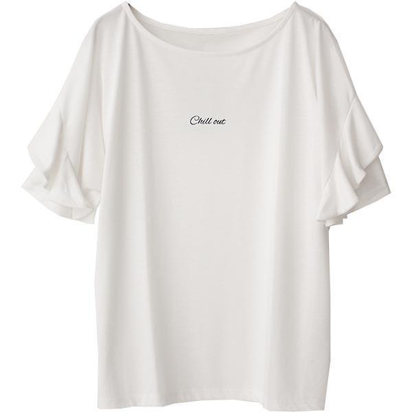 Tシャツ レディース フリル袖 ボーダー ロゴ 夏 白 黒 ボリューム袖 トップス カットソー 大きいサイズ 送料無料|f-odekake|34