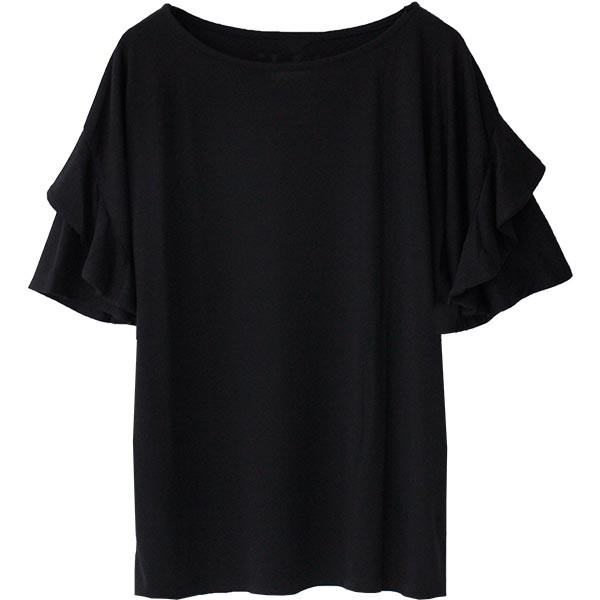Tシャツ レディース フリル袖 ボーダー ロゴ 夏 白 黒 ボリューム袖 トップス カットソー 大きいサイズ 送料無料|f-odekake|23