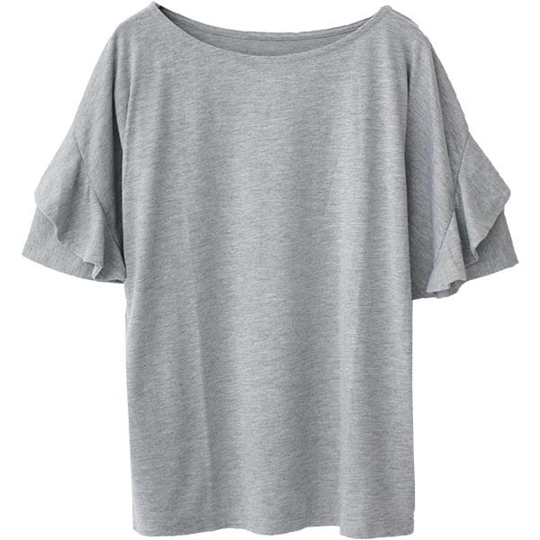 Tシャツ レディース フリル袖 ボーダー ロゴ 夏 白 黒 ボリューム袖 トップス カットソー 大きいサイズ 送料無料|f-odekake|24