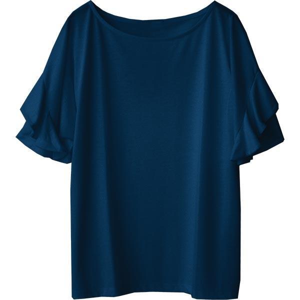Tシャツ レディース フリル袖 ボーダー ロゴ 夏 白 黒 ボリューム袖 トップス カットソー 大きいサイズ 送料無料|f-odekake|25
