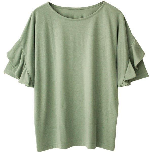 Tシャツ レディース フリル袖 ボーダー ロゴ 夏 白 黒 ボリューム袖 トップス カットソー 大きいサイズ 送料無料|f-odekake|27