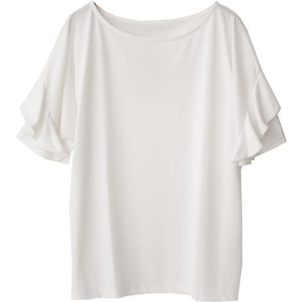 Tシャツ レディース フリル袖 ボーダー ロゴ 夏 白 黒 ボリューム袖 トップス カットソー 大きいサイズ 送料無料|f-odekake|22