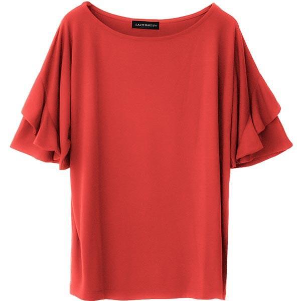 Tシャツ レディース フリル袖 ボーダー ロゴ 夏 白 黒 ボリューム袖 トップス カットソー 大きいサイズ 送料無料|f-odekake|31