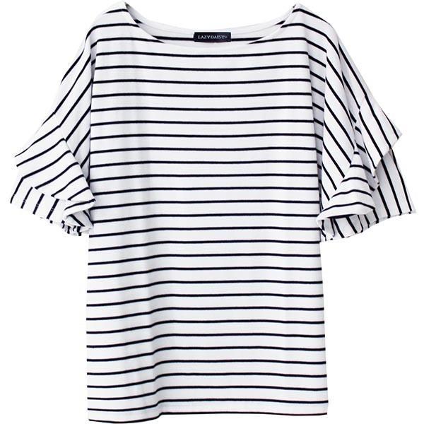 Tシャツ レディース フリル袖 ボーダー ロゴ 夏 白 黒 ボリューム袖 トップス カットソー 大きいサイズ 送料無料|f-odekake|40