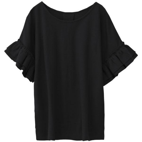 Tシャツ レディース 袖フリル ワッフル 半袖 シンプル 無地 カットソー トップス 送料無料|f-odekake|23