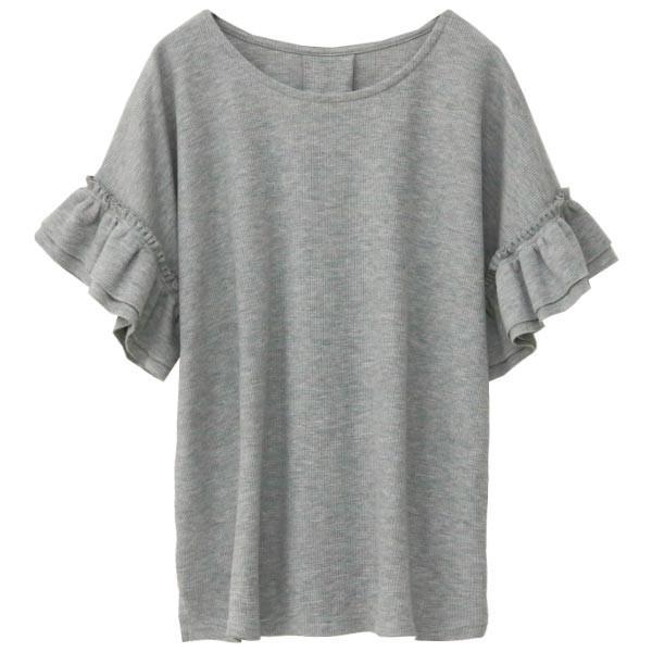 Tシャツ レディース 袖フリル ワッフル 半袖 シンプル 無地 カットソー トップス 送料無料|f-odekake|24