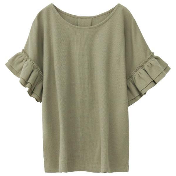 Tシャツ レディース 袖フリル ワッフル 半袖 シンプル 無地 カットソー トップス 送料無料|f-odekake|25