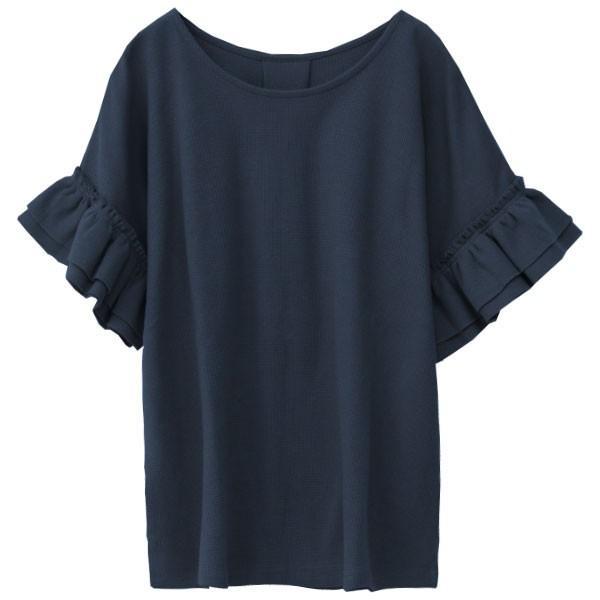 Tシャツ レディース 袖フリル ワッフル 半袖 シンプル 無地 カットソー トップス 送料無料|f-odekake|27
