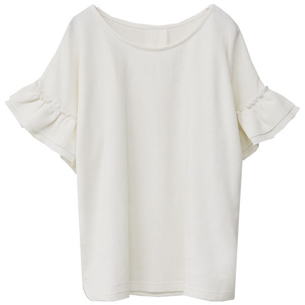 Tシャツ レディース 袖フリル ワッフル 半袖 シンプル 無地 カットソー トップス 送料無料|f-odekake|22