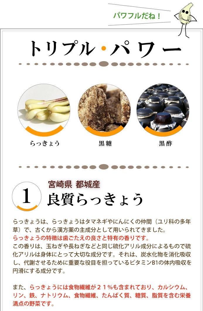 黒糖黒酢らっきょう 都城産らっきょう・黒糖・黒酢