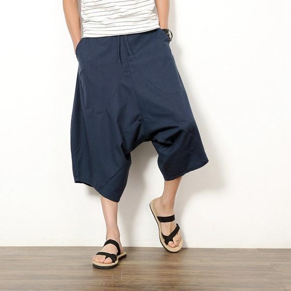 サルエルパンツ ガウチョパンツ メンズ ワイドパンツ イージーパンツ 父の日 サルエル 7分丈 アラジンパンツ 麻 リネン 送料無料 代引不可|fashiontop|13