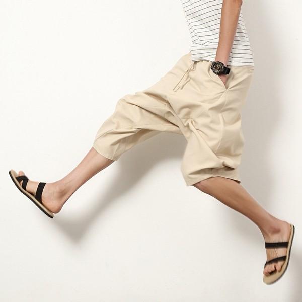 サルエルパンツ ガウチョパンツ メンズ ワイドパンツ イージーパンツ 父の日 サルエル 7分丈 アラジンパンツ 麻 リネン 送料無料 代引不可|fashiontop|16