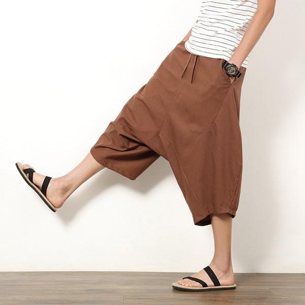 サルエルパンツ ガウチョパンツ メンズ ワイドパンツ イージーパンツ 父の日 サルエル 7分丈 アラジンパンツ 麻 リネン 送料無料 代引不可|fashiontop|15