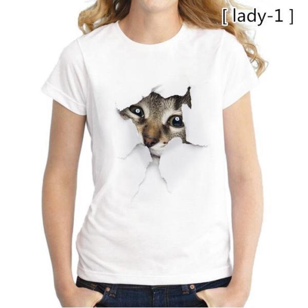 可愛い 3D 猫 Tシャツ 半袖 男女兼用 メンズ 薄手 ねこ 白 レディース 面白 おもしろ かわいい トリックアート 代引不可 fashiontop 14