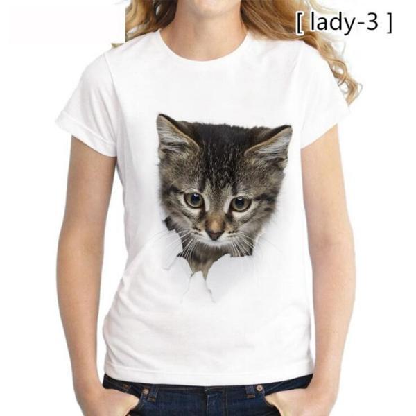 可愛い 3D 猫 Tシャツ 半袖 男女兼用 メンズ 薄手 ねこ 白 レディース 面白 おもしろ かわいい トリックアート 代引不可 fashiontop 16