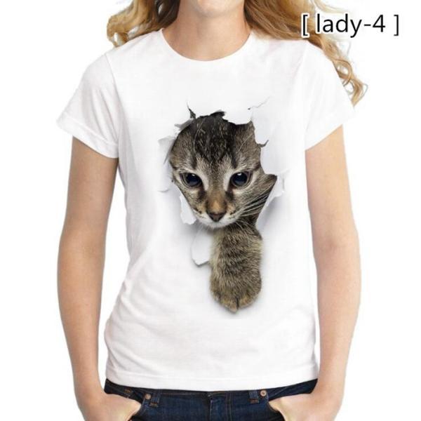 可愛い 3D 猫 Tシャツ 半袖 男女兼用 メンズ 薄手 ねこ 白 レディース 面白 おもしろ かわいい トリックアート 代引不可 fashiontop 17