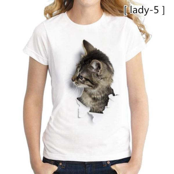 可愛い 3D 猫 Tシャツ 半袖 男女兼用 メンズ 薄手 ねこ 白 レディース 面白 おもしろ かわいい トリックアート 代引不可 fashiontop 18