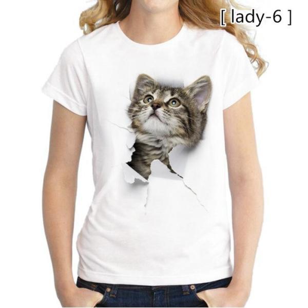可愛い 3D 猫 Tシャツ 半袖 男女兼用 メンズ 薄手 ねこ 白 レディース 面白 おもしろ かわいい トリックアート 代引不可 fashiontop 19