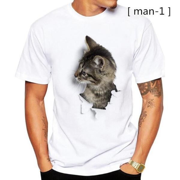 可愛い 3D 猫 Tシャツ 半袖 男女兼用 メンズ 薄手 ねこ 白 レディース 面白 おもしろ かわいい トリックアート 代引不可 fashiontop 08