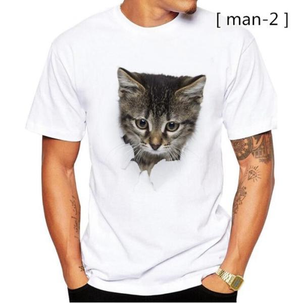 可愛い 3D 猫 Tシャツ 半袖 男女兼用 メンズ 薄手 ねこ 白 レディース 面白 おもしろ かわいい トリックアート 代引不可 fashiontop 09