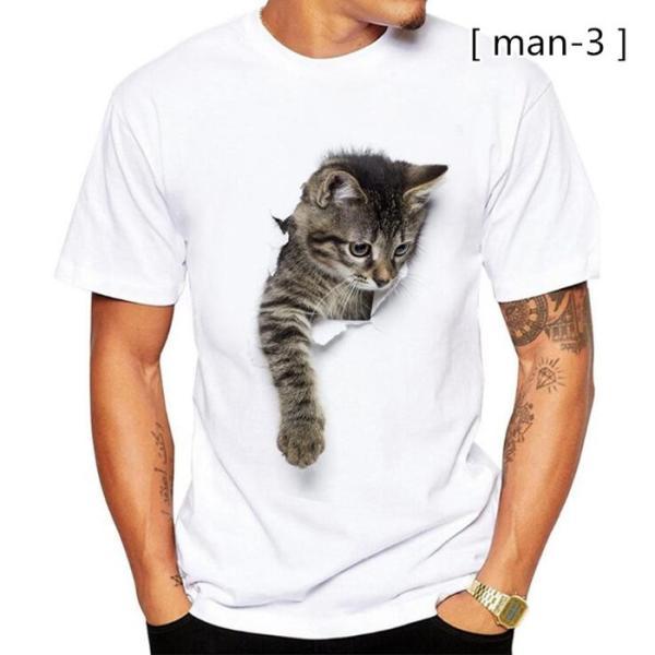 可愛い 3D 猫 Tシャツ 半袖 男女兼用 メンズ 薄手 ねこ 白 レディース 面白 おもしろ かわいい トリックアート 代引不可 fashiontop 10