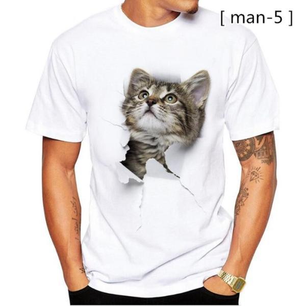 可愛い 3D 猫 Tシャツ 半袖 男女兼用 メンズ 薄手 ねこ 白 レディース 面白 おもしろ かわいい トリックアート 代引不可 fashiontop 11