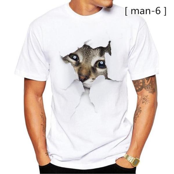 可愛い 3D 猫 Tシャツ 半袖 男女兼用 メンズ 薄手 ねこ 白 レディース 面白 おもしろ かわいい トリックアート 代引不可 fashiontop 12