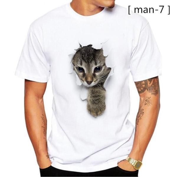 可愛い 3D 猫 Tシャツ 半袖 男女兼用 メンズ 薄手 ねこ 白 レディース 面白 おもしろ かわいい トリックアート 代引不可 fashiontop 13