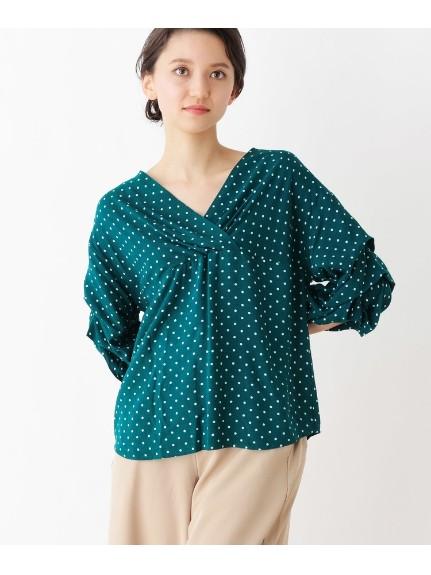 grove(グローブ)通販 ボリュームタック袖シャツ(ダークグリーン(123))