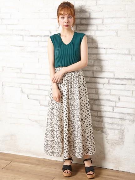 INGNI(イング)通販 花柄パネル切替ギャザー/スカート(オフホワイト/A)