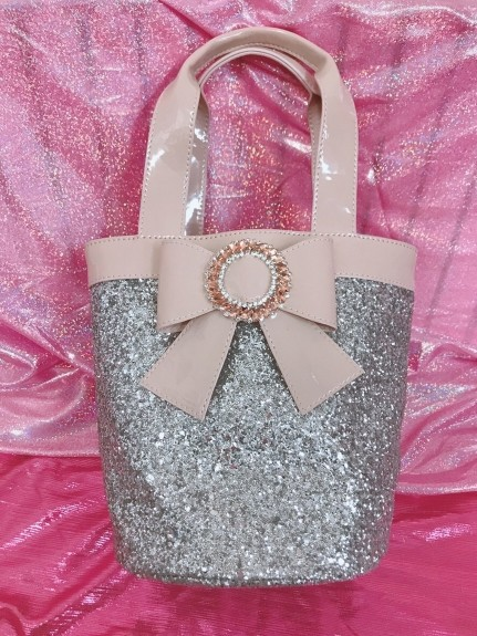 Swankiss(スワンキス)通販|SG glitter ribbon BAG(ベージュ)