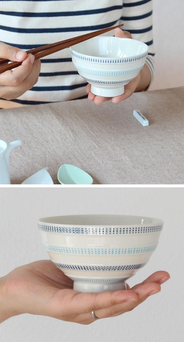お茶碗 飯碗 ペアセット 波佐見焼 ニットライン 磁器 石丸陶芸