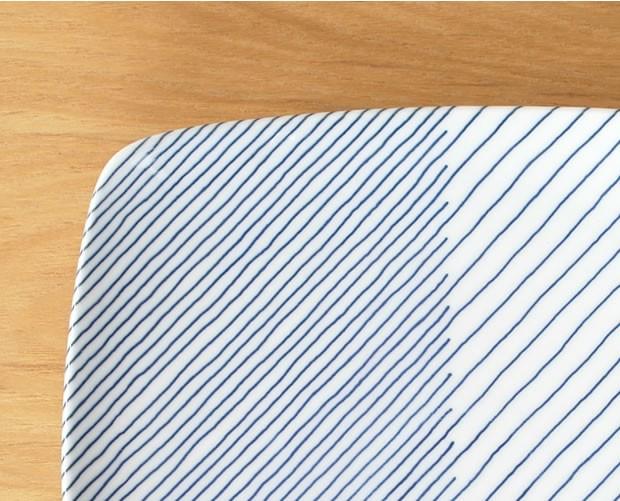 白山陶器 HAKUSAN 重ね縞 反角多用皿 波佐見焼 21×21cm