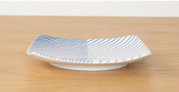 白山陶器 HAKUSAN 重ね縞 反角中皿 波佐見焼 16.5×16.5cm